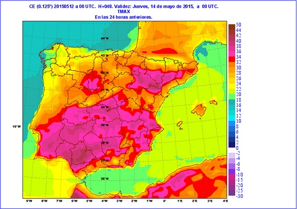 Mapa de España co temperaturas